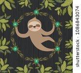 sloth in the jungle scene | Shutterstock .eps vector #1086843074