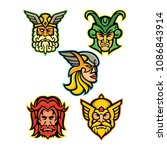 mascot icon illustration set of ...   Shutterstock .eps vector #1086843914
