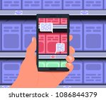augmented reality application... | Shutterstock .eps vector #1086844379