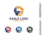 eagle wings logo with camera... | Shutterstock .eps vector #1086850661
