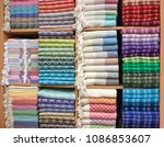 colorful turkish bath towels... | Shutterstock . vector #1086853607