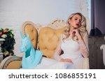 freaky blonde girl and unicorn... | Shutterstock . vector #1086855191