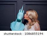 freaky blonde girl and unicorn... | Shutterstock . vector #1086855194
