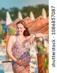 beautiful pregnant woman... | Shutterstock . vector #1086857087