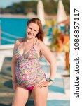 beautiful pregnant woman... | Shutterstock . vector #1086857117
