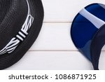 blue sun visor  headdress and... | Shutterstock . vector #1086871925