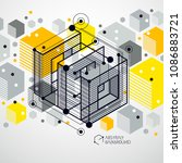 isometric abstract yellow... | Shutterstock .eps vector #1086883721