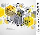 isometric abstract yellow... | Shutterstock .eps vector #1086883727