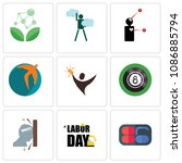 set of 9 simple editable icons... | Shutterstock .eps vector #1086885794