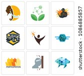 set of 9 simple editable icons... | Shutterstock .eps vector #1086885857