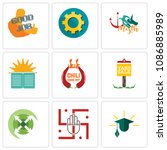 set of 9 simple editable icons...   Shutterstock .eps vector #1086885989
