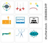set of 9 simple editable icons... | Shutterstock .eps vector #1086886349