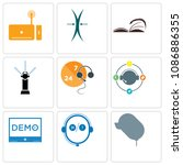set of 9 simple editable icons... | Shutterstock .eps vector #1086886355