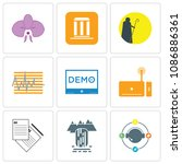 set of 9 simple editable icons... | Shutterstock .eps vector #1086886361