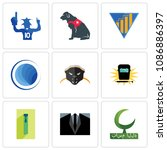 Set Of 9 simple editable icons such as bismillah, dress code, zipper, welding, honey badger, globe, yield, service dog, sports fan, can be used for mobile, web, 48x48 icon