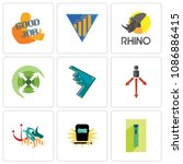 set of 9 simple editable icons... | Shutterstock .eps vector #1086886415