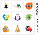 set of 9 simple editable icons...   Shutterstock .eps vector #1086886451