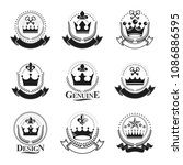 royal crowns emblems set.... | Shutterstock .eps vector #1086886595