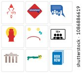 set of 9 simple editable icons...   Shutterstock .eps vector #1086886619