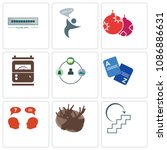 set of 9 simple editable icons...   Shutterstock .eps vector #1086886631