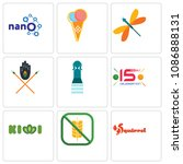 set of 9 simple editable icons... | Shutterstock .eps vector #1086888131