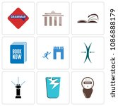 set of 9 simple editable icons...   Shutterstock .eps vector #1086888179
