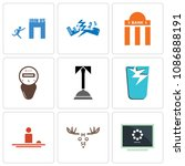 set of 9 simple editable icons...   Shutterstock .eps vector #1086888191