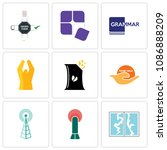 set of 9 simple editable icons...   Shutterstock .eps vector #1086888209