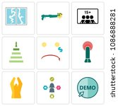 set of 9 simple editable icons... | Shutterstock .eps vector #1086888281