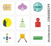 set of 9 simple editable icons... | Shutterstock .eps vector #1086888299