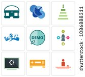 set of 9 simple editable icons... | Shutterstock .eps vector #1086888311