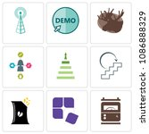 set of 9 simple editable icons... | Shutterstock .eps vector #1086888329