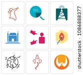 set of 9 simple editable icons... | Shutterstock .eps vector #1086888377
