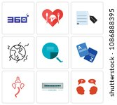 set of 9 simple editable icons...   Shutterstock .eps vector #1086888395