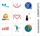set of 9 simple editable icons... | Shutterstock .eps vector #1086891071