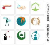 set of 9 simple editable icons... | Shutterstock .eps vector #1086891104