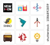 set of 9 simple editable icons... | Shutterstock .eps vector #1086892859
