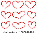 hearts drawing vector set red | Shutterstock .eps vector #1086898481
