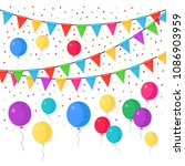 banner with garland of colour...   Shutterstock .eps vector #1086903959