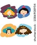 vector  colorful cute pretty... | Shutterstock .eps vector #1086908954