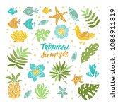 vector flowers on paradise ... | Shutterstock .eps vector #1086911819