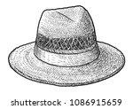 straw hat illustration  drawing ...   Shutterstock .eps vector #1086915659