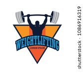 weight lifting logo with text... | Shutterstock .eps vector #1086916319