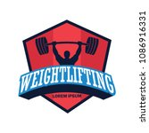 weight lifting logo with text... | Shutterstock .eps vector #1086916331