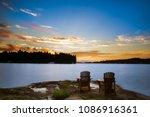 long exposure of two muskoka... | Shutterstock . vector #1086916361