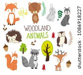 hand drawn woodland animals... | Shutterstock .eps vector #1086918227