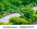 beautiful home garden allotment ... | Shutterstock . vector #1086919379