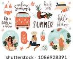 summer lettering pop art set... | Shutterstock .eps vector #1086928391
