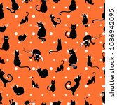 charming hand drawn cats design ... | Shutterstock .eps vector #1086942095