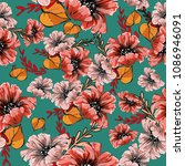 seamless pattern  with poppies  | Shutterstock .eps vector #1086946091
